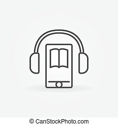 Audiobook in smartphone icon. Vector headphones with...