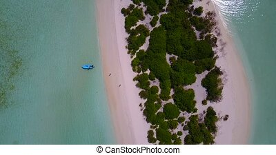 v05148 Aerial flying drone view of Maldives white sandy...