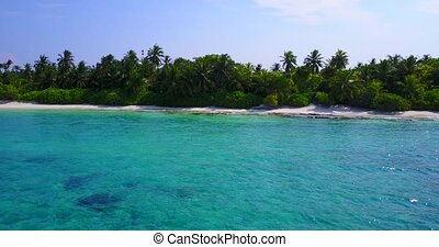v05320 Aerial flying drone view of Maldives white sandy...