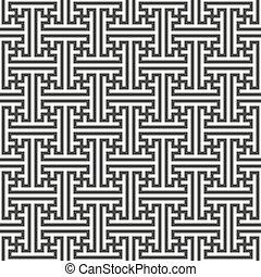 swastika ornament seamless pattern - vector monochrome black...