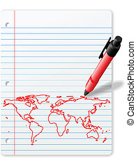 Pen drawing World Map on Notebook Paper red ink - Pen...