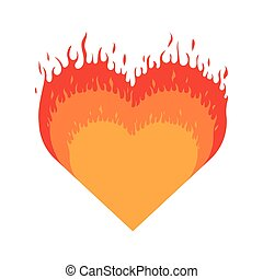 Burning heart. Heart with fire isolated icon on white...