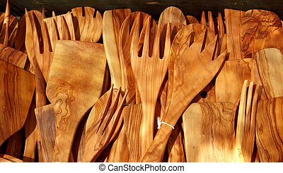 cutlery olive tree wood spanish traditional kitchenware -...
