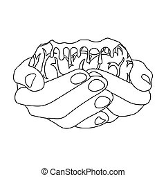 Hands, single icon in outline style.Hands, vector symbol...