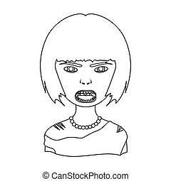 Woman, single icon in outline style.Woman, vector symbol...