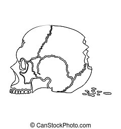 Skull single icon in outline style.Skull, vector symbol...