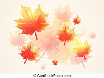 Vector illustration of autumn background vintage with fall...