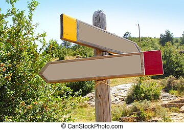 wood copyspace traffic signal outdoor mountain arrow in two...