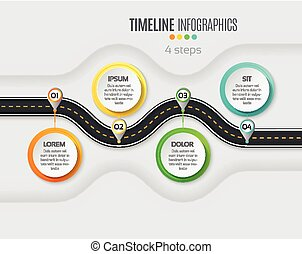 Navigation map infographic 4 steps timeline concept. Winding roa