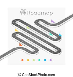 Isometric navigation map infographic abstract timeline concept.