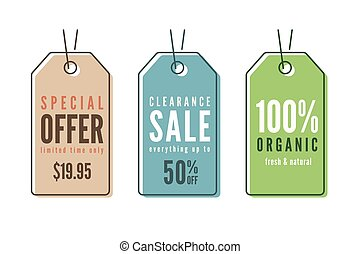 Set of line art sale price tags, banners, stickers, badges, labe