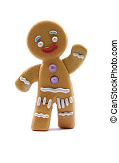 Gingerbread Man - A gingerbread man waiving and smiling.