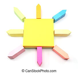Sticky Notes Sun - An arrangement of different size and...