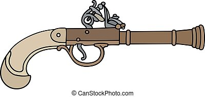 Vintage percussion handgun - Hand drawing of a vintage...