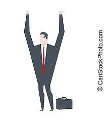 Businessman surrender hands up. Business life. Vector...