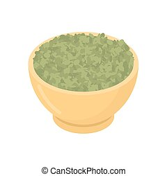 Green Lentils in wooden bowl isolated. Groats in wood dish....