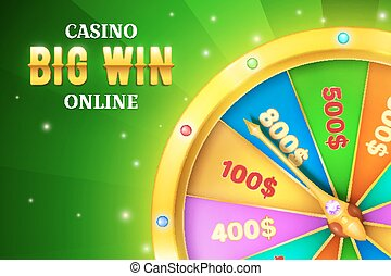 Online casino background with spinning retro game wheel