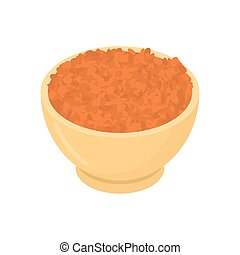 Red lentils in wooden bowl isolated. Groats in wood dish....