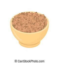 Lentils in wooden bowl isolated. Groats in wood dish. Grain...