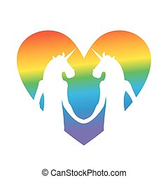 Gay love. unicorn hold hands. LGBT heart. Together forever....