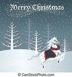 Christmas horse with snow scene - White Horse gallops...