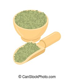 Green Lentils in wooden bowl and spoon. Groats in wood dish...