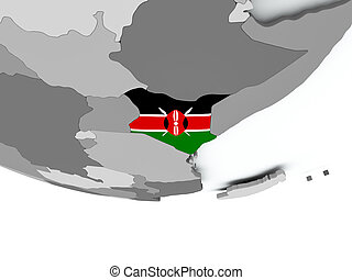 Kenya with flag on globe