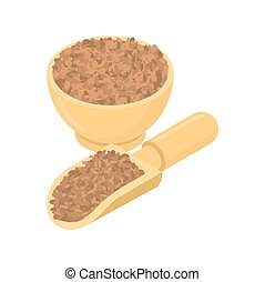 Lentils in wooden bowl and spoon. Groats in wood dish and...
