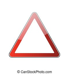 triangle road sign - Triangle warning sign blank. Danger red...