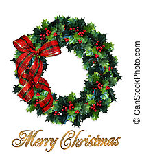 Christmas wreath holly - Illustration composition Christmas...