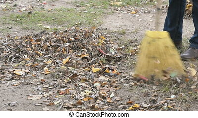 Woman sweeping the leaves with broom in the park - Autumn...