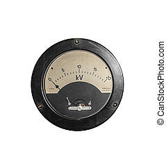 Old sensor voltmeter isolated on white. - Old sensor...