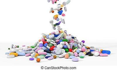 pile of body building supplements. 3d illustration. isolated...