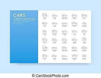 Vector Car Icons Set with All Car Types and Names