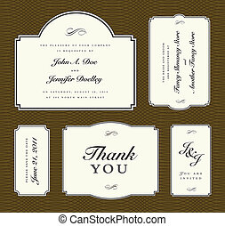 Vector 5 Frame Wedding Set - Set of ornate vector frames....
