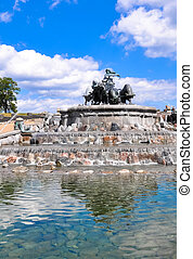View of famous Gefion Fountain Gefionspringvandet in...