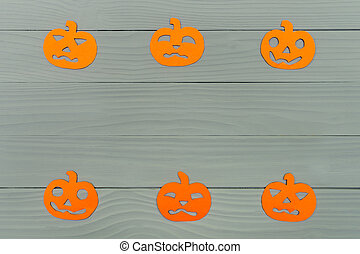 Paper silhouette of six different pumpkin - Top view of...
