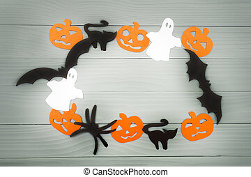 Halloween holiday background made of frame with pumpkins,...