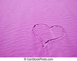 Heart in the Sand on a Sunny Day - Purple Heart in the Sand...