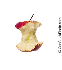 Half eaten apple towards white background