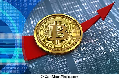 3d bitcoin up arrow - 3d illustration of bitcoin over...