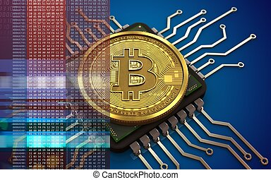 3d bitcoin computer chip - 3d illustration of bitcoin over...