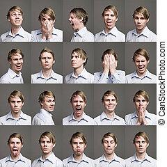 vinte, retratos, homem, diferente, expressões