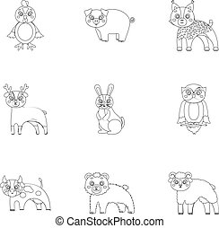 Farm, production, zoo and other web icon in outline style....