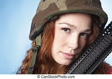Young army woman