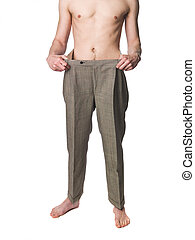 Man with oversized trousers