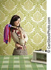 retro housewife cleaning duster woman sixties