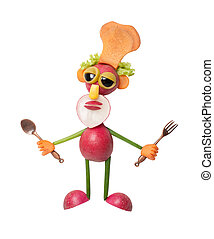 Chef made of vegetables on isolated background