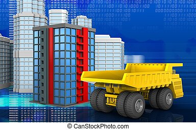 3d of building - 3d illustration of building with urban...