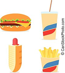 Fast food icons set with simple flat colored hamburger,...